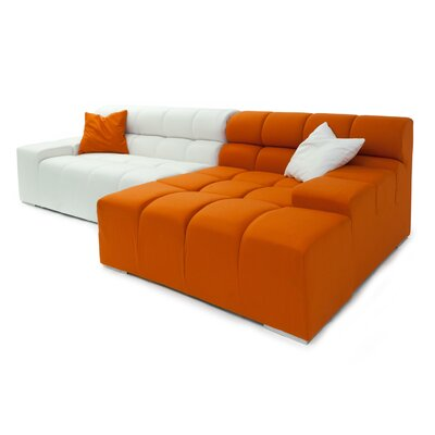 Cubix Sectional Upholstery: Chalk White/Carrot, Orientation: Right Hand Facing