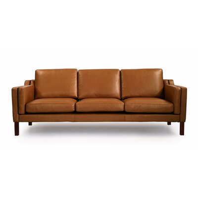 Rolando Mid Century Modern Leather Sofa Upholstery: Canyon