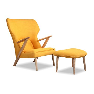 Cub Mid Century Modern Lounge Chair and Ottoman Finish: Urban Citrine
