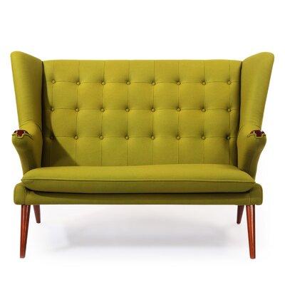 Bear Wegner Papa Wing Loveseat Upholstery: Deco Moss