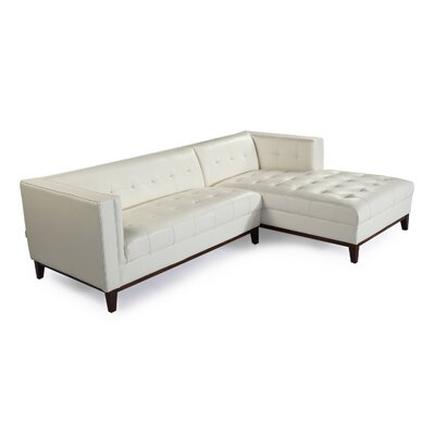 Harrison Leather Sectional Upholstery: White, Orientation: Right Hand Facing