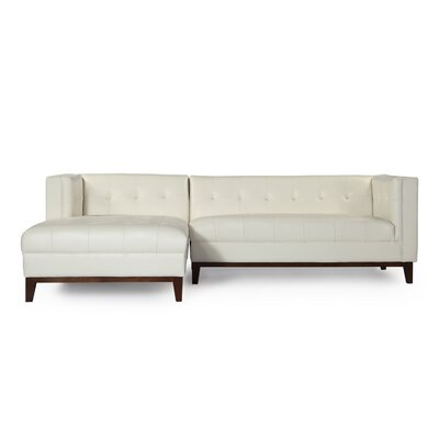 Harrison Leather Sectional Upholstery: White, Orientation: Left Hand Facing