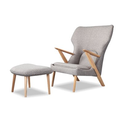 Cub Mid Century Modern Lounge Chair and Ottoman Finish: Urban Pebble