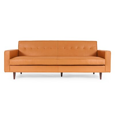 Potter Mid Century Modern Leather Sofa Upholstery: Canyon