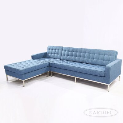 Sectional Upholstery: Azure, Orientation: Left Hand Facing