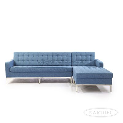 Sectional Upholstery: Azure, Orientation: Right Hand Facing