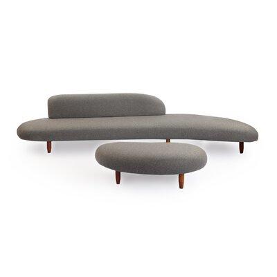Kidney Bean Mid Century Modern Sofa and Ottoman Set Upholstery: Cadet Gray