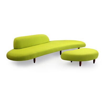 Potvin Mid Century Modern Sofa and Ottoman Set Upholstery: Lime Green