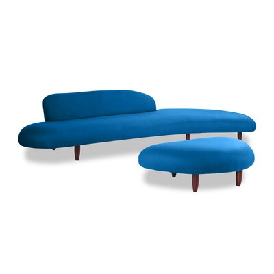 Potvin Mid Century Modern Sofa and Ottoman Set Upholstery: Sapphire
