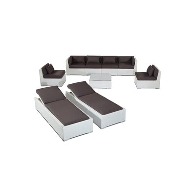 Maui 9 Piece Deep Seating Group Fabric: Graphite, Finish: White