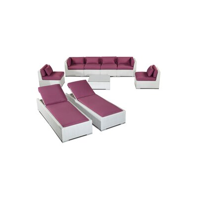 Maui 9 Piece Deep Seating Group Fabric: Orchid, Finish: White