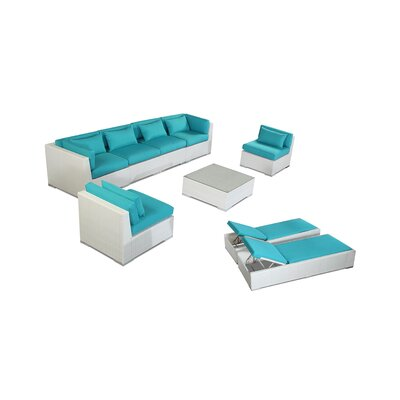 Maui 9 Piece Deep Seating Group Fabric: Turquoise, Finish: White