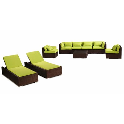 Maui 9 Piece Deep Seating Group Fabric: Lime Green, Finish: Brown