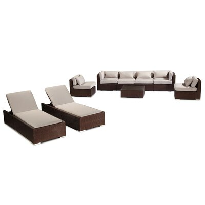 Maui 9 Piece Deep Seating Group Fabric: Grey, Finish: Brown