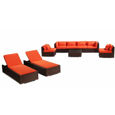 Maui 9 Piece Deep Seating Group Fabric: Orange, Finish: Brown