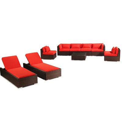 Maui 9 Piece Deep Seating Group Fabric: Red, Finish: Brown