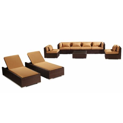 Maui 9 Piece Deep Seating Group Fabric: Taupe, Finish: White