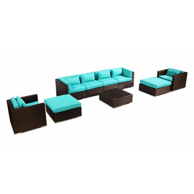 Kauai 9 Piece Deep Seating Group Fabric: Turquoise, Finish: Brown
