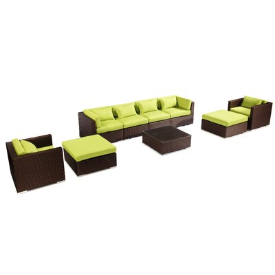 Kauai 9 Piece Deep Seating Group Fabric: Lime Green, Finish: Brown