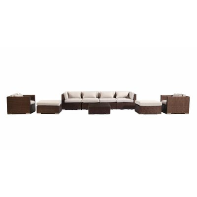 Kauai 9 Piece Deep Seating Group Fabric: Grey, Finish: Brown