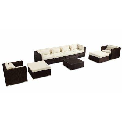 Kauai 9 Piece Deep Seating Group Fabric: Ivory, Finish: Brown