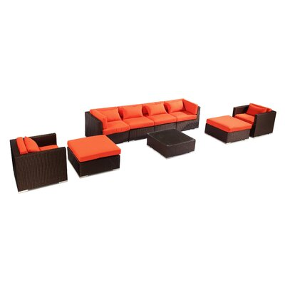 Kauai 9 Piece Deep Seating Group Fabric: Orange, Finish: Brown