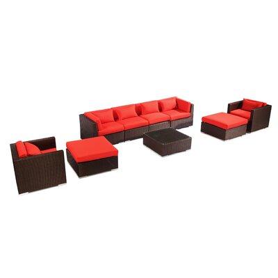 Kauai 9 Piece Deep Seating Group Fabric: Red, Finish: Brown