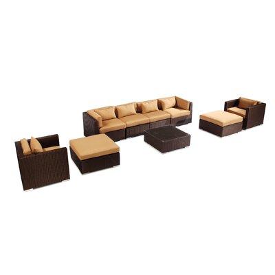 Kauai 9 Piece Deep Seating Group Fabric: Taupe, Finish: Brown