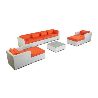 Kauai 9 Piece Deep Seating Group Fabric: Orange, Finish: White