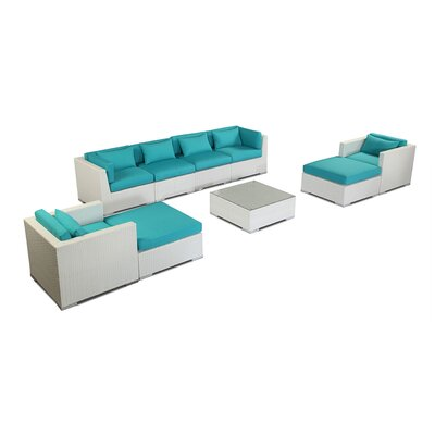 Kauai 9 Piece Deep Seating Group Fabric: Turquoise, Finish: White