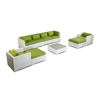 Kauai 9 Piece Deep Seating Group Fabric: Lime Green, Finish: White