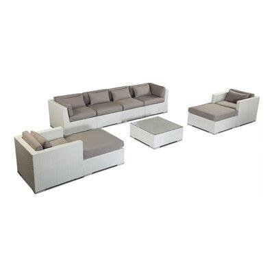 Kauai 9 Piece Deep Seating Group Fabric: Grey, Finish: White