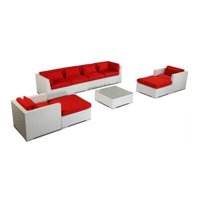Kauai 9 Piece Deep Seating Group Fabric: Red, Finish: White