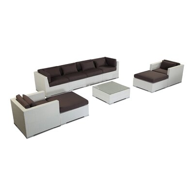Kauai 9 Piece Deep Seating Group Fabric: Graphite, Finish: White