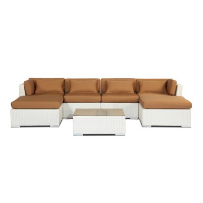 Napali 7 Piece Deep Seating Group Fabric: Taupe, Finish: White