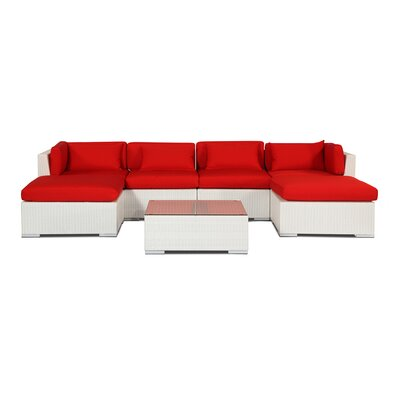 Napali 7 Piece Deep Seating Group Fabric: Red, Finish: White