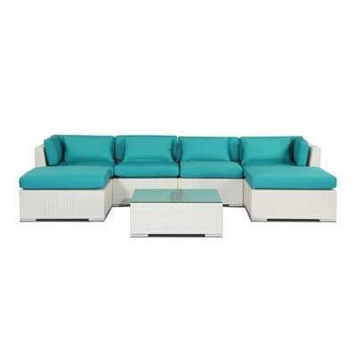 Napali 7 Piece Deep Seating Group Fabric: Turquoise, Finish: White