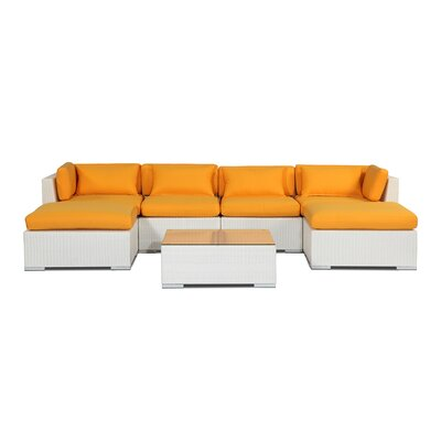 Napali 7 Piece Deep Seating Group Fabric: Sunflower, Finish: White