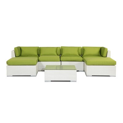 Napali 7 Piece Deep Seating Group Fabric: Lime Green, Finish: White