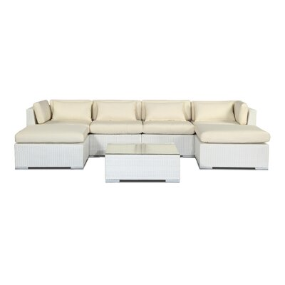 Napali 7 Piece Deep Seating Group Fabric: Ivory, Finish: White