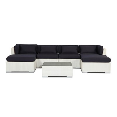 Napali 7 Piece Deep Seating Group Fabric: Navy, Finish: White