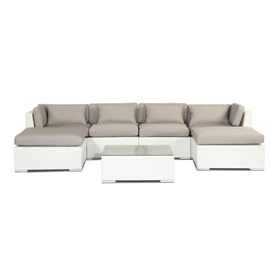 Napali 7 Piece Deep Seating Group Fabric: Grey, Finish: White