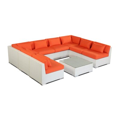Oahu 9 Piece Deep Seating Group Fabric: Orange, Finish: White