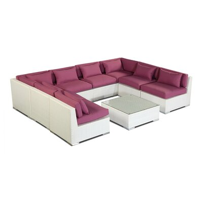 Oahu 9 Piece Deep Seating Group Fabric: Orchid, Finish: White