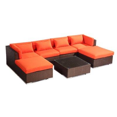 Napali 7 Piece Deep Seating Group Fabric: Orange, Finish: Brown