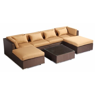 Napali 7 Piece Deep Seating Group Fabric: Taupe, Finish: Brown
