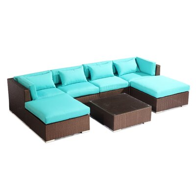 Napali 7 Piece Deep Seating Group Fabric: Turquoise, Finish: Brown