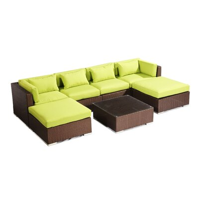 Napali 7 Piece Deep Seating Group Fabric: Lime Green, Finish: Brown