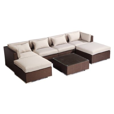 Napali 7 Piece Deep Seating Group Fabric: Grey, Finish: Brown