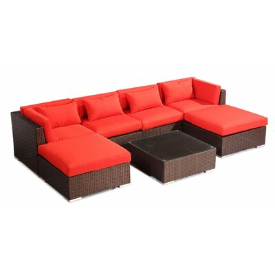 Napali 7 Piece Deep Seating Group Fabric: Red, Finish: Brown